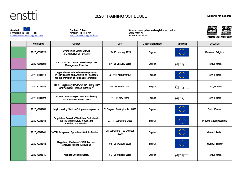 The first part of the ENSTTI Training Schedule 2020 with a COVID-19 Update